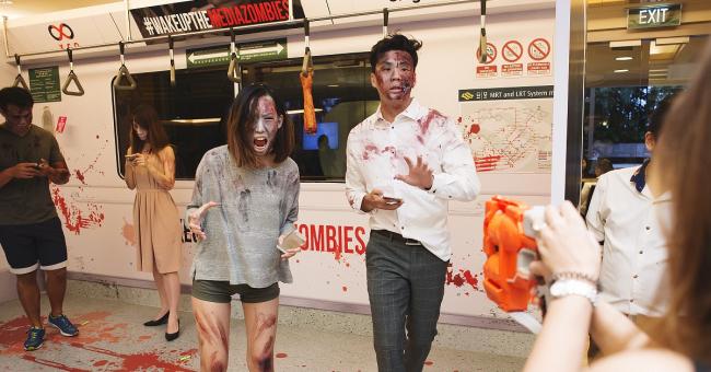 Singtel Media Zombie MRT Actors